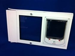 The Animate Electronic pet door with dual paned glass, by Security Boss Manufacturing, features an electro-magnetic pet door that controls dog or cat access in only. A magnetic collar tag is worn by your pet, to allow access from outside coming in (2 collar tags included). https://www.moorepet.com/Animate-Electronic-Dual-Pane-Sash-Window-Insert-p/sb-anim-elec-dp-sash.htm
