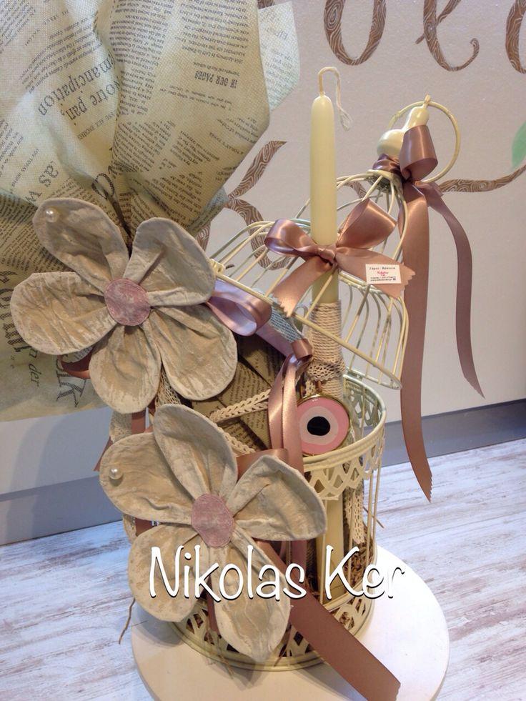 Πασχαλινό διακοσμητικό κλουβί με λουλούδια & λαμπάδα κρεμαστό μάτι κολιέ. Περιέχει σοκολατένιο αυγό & λαμπάδα. Handmade by Nikolas Ker! www.nikolas-ker.gr