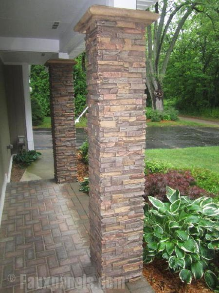 Stone Columns | Our stone veneer column wraps are practically indistinguishable from ...