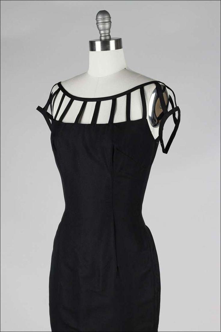 Vintage 1950's Black Caged Shoulder Cocktail Dress image 4