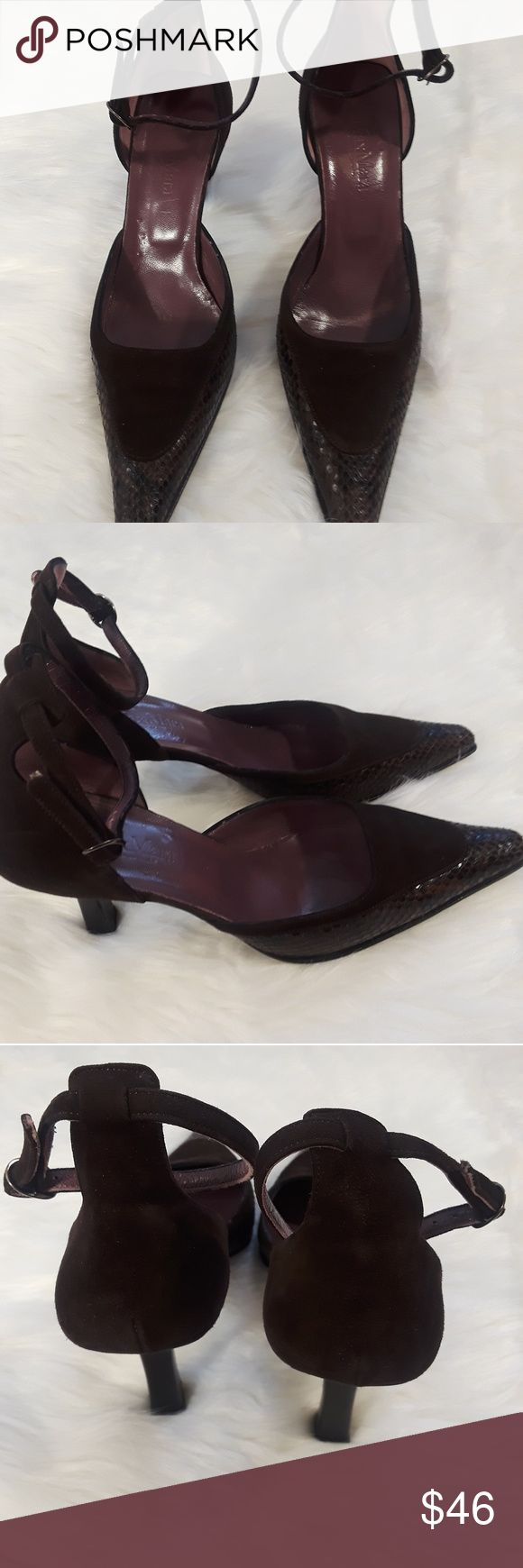Max Mara women's pointed heels brown suede size 9 Max Mara women's size 39 9 brown ankle strap pumps  snake skin pointed toe leather suede excellent condition gently worn MaxMara Shoes Heels