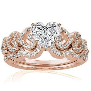 1.15 Ct Heart Shaped Petite Diamond Engagement Wedding Rings Pave Set 14K SI2 ROSE GOLD