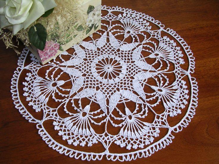 Crochet doily napkins napperon centro ad uncinetto centro pizzo ad uncinetto centrotavola uncinetto pizzo ad uncinetto, cotone bianco nuovo, di MondoTSK su Etsy