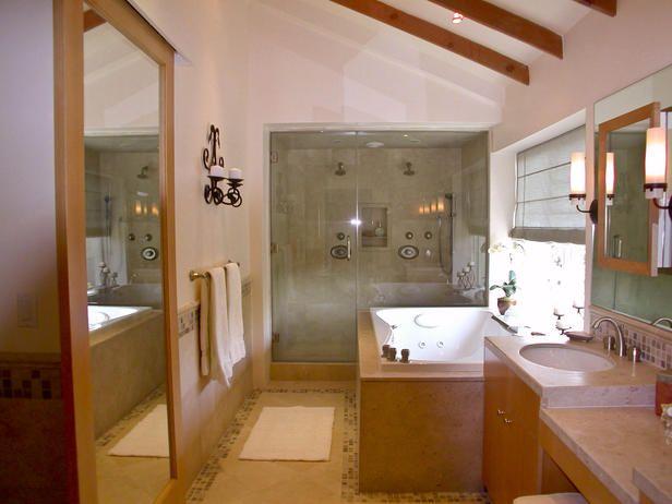SPA LIKE BATHROOM: Bathroom Design, Ceilings Beams, Design Ideas, Glasses Shower, Bathroom Ideas, Bathroom Pictures, Bathroom Cabinets, Cottages Bathroom, Master Bathroom
