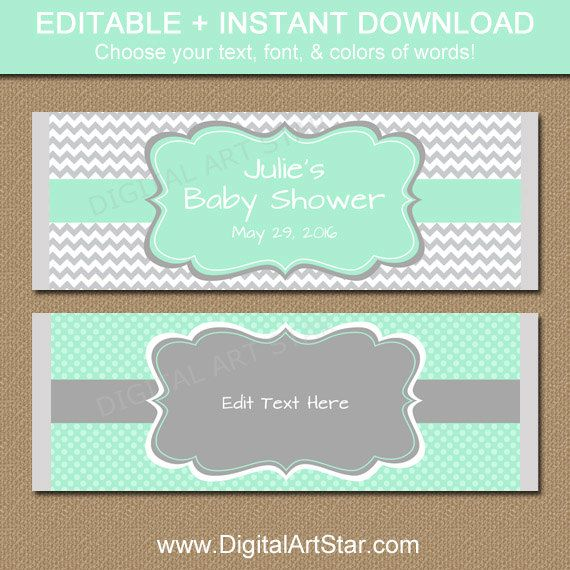 Printable Baby Shower Candy Wrappers Editable Mint