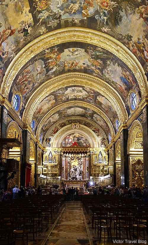 Interior of the St John's Co-Cathedral of Valletta, Malta. https://victortravelblog.com/2014/07/01/return-maltese-islands-order-of-malta/