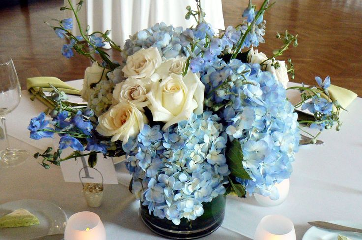French blue and gold floral arrangements wedding