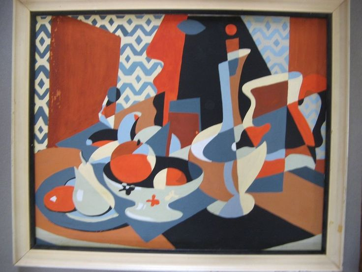 Mid Century Gouache Painting Cubist Still Life Abstract R.L. Bailey #Cubism