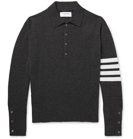 THOM BROWNE Striped Cashmere Polo Shirt. #thombrowne #cloth #polos