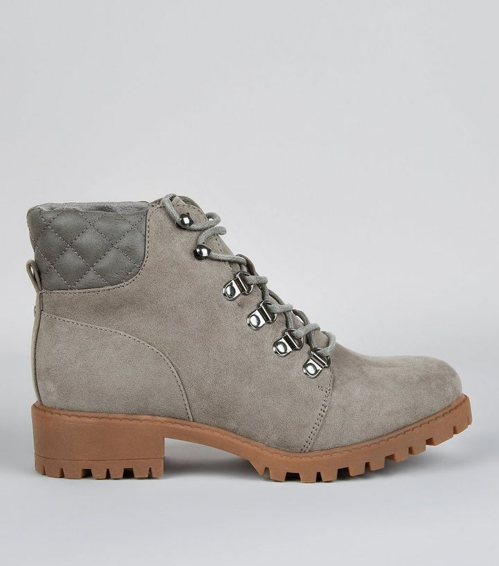 Teens Grey Quilted Panel Worker Boots   New Look