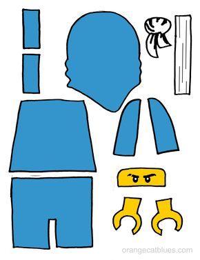 Lego Ninjago printable cutout for toddler gluestick art: The Blue Ninja, Jay