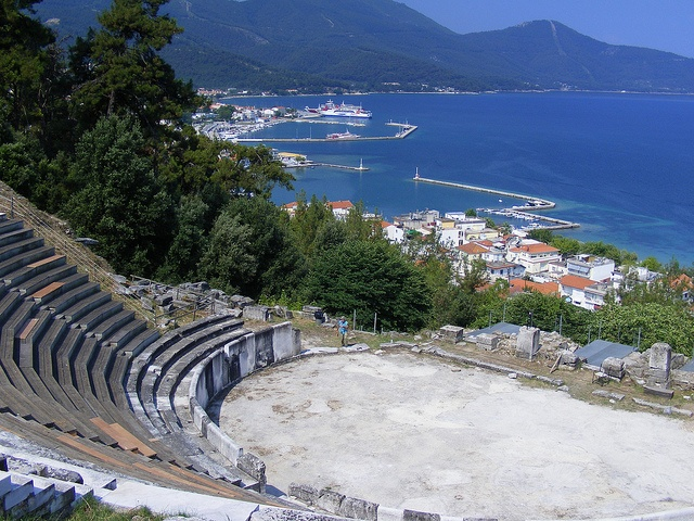 The Ancient Theatre of Thassos Town (Greece) What you will first notice about the theater is the panoramic view of the sea that is offered. Built in the 3rd Century B.C. the theater could easily accommodate 2000-3000 spectators. It was altered by the Romans in the 1st Century A.D and was used for gladiatorial contests.