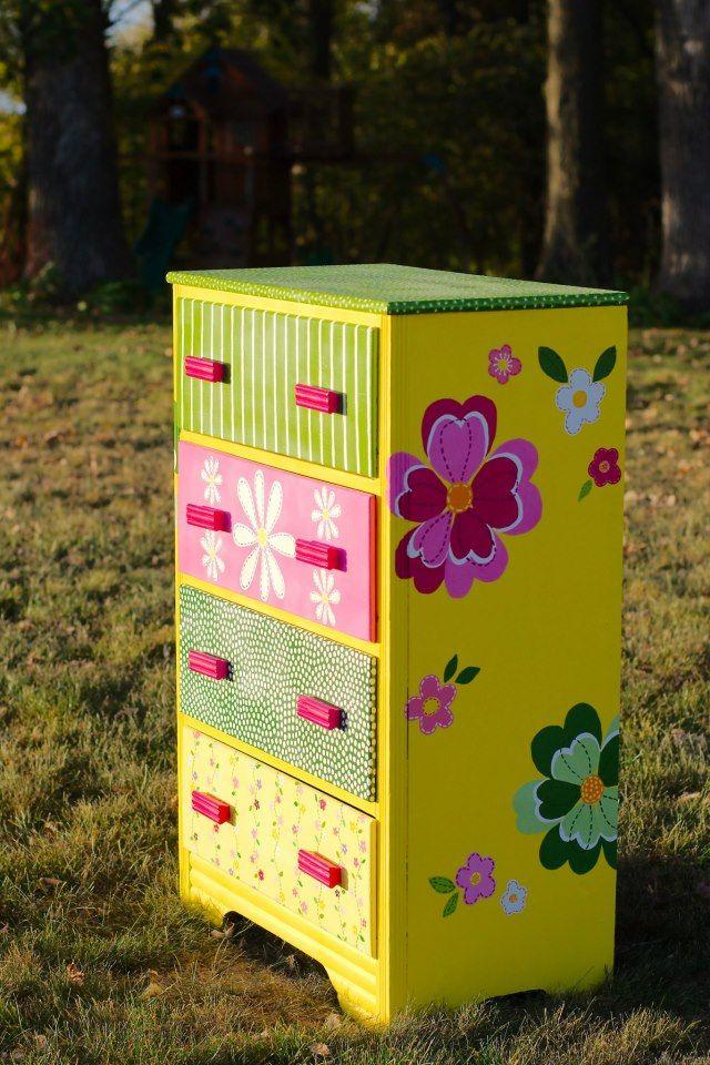 Painted Kids Dresser - Full view of the Pottery Barn inspired dresser.