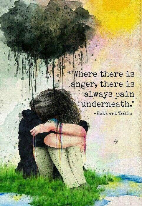 Eckhart Tolle Quote / Anger is always a secondary emotion. Underneath anger is a different emotional pain: fear, shame, etc. ~ SHEN therapy www.SHENworks.com