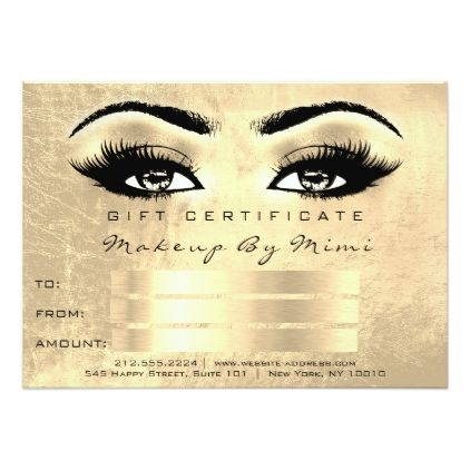 Lux Gold Lashes Makeup Artist Certificate Gift Card - personalize gift idea special custom diy or cyo
