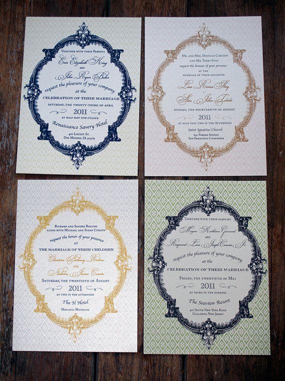 Modern Vintage Wedding Invitation French by Bdesignsinvitations, $4.05