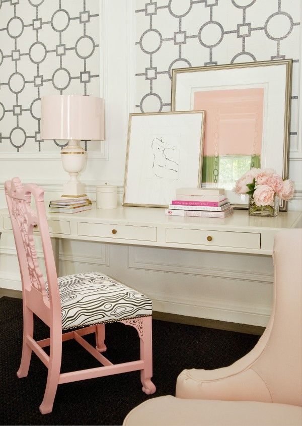 Great pink, white and black room for a teen
