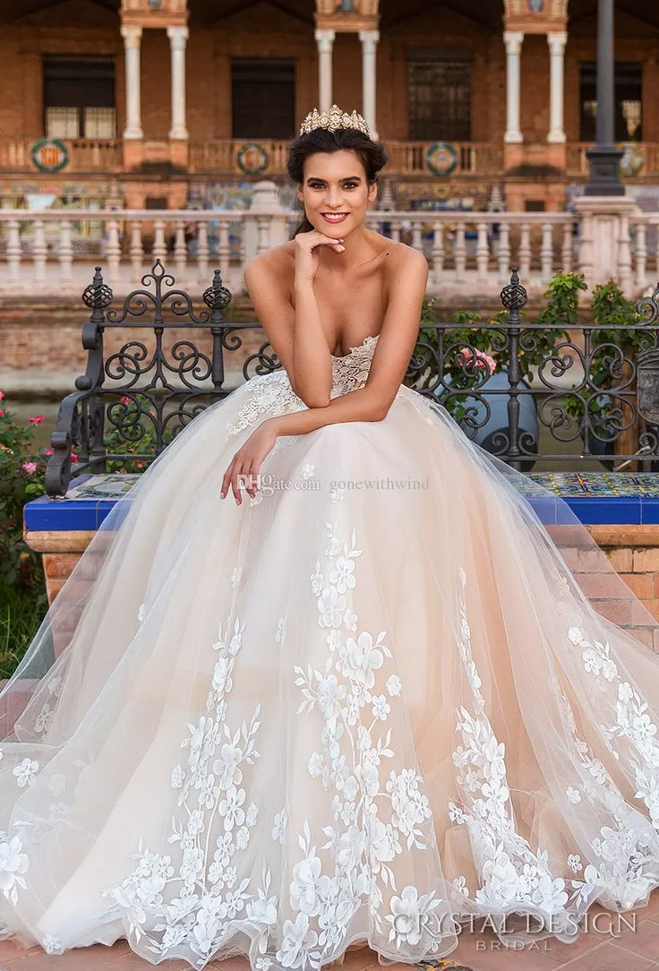 corset princess ball gown wedding dresses 2017 crystal design bridal strapless sweetheart neckline back chapel train