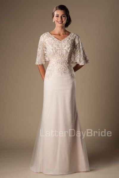 Primrose Modest Wedding Dress With Sleeves Latterdaybride Lds Bridal Gown Slc