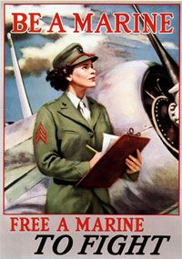 Women in the US Military - WWII: Marine Corps Women's Reserve.  Proud to be a BAM.
