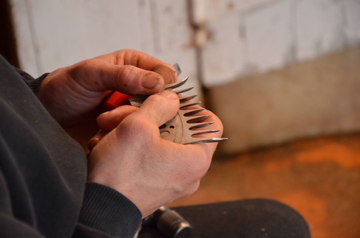The shearers comb. An essential part of the shearers handpiece helping to position the wool fibres for the cutter.
