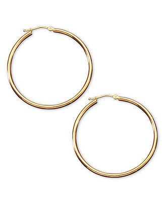 14k Gold Hoop Earrings - Gold - Jewelry & Watches - Macy's