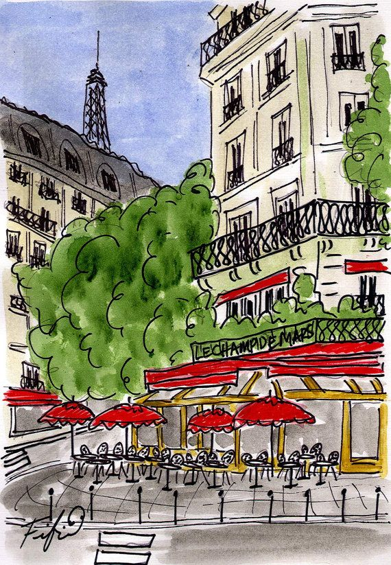 Le Champ de Mars Cafe by fififlowers on Etsy