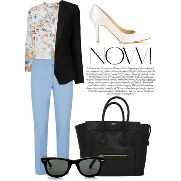 """blue pants & floral print"" by horackova-alice on Polyvore"