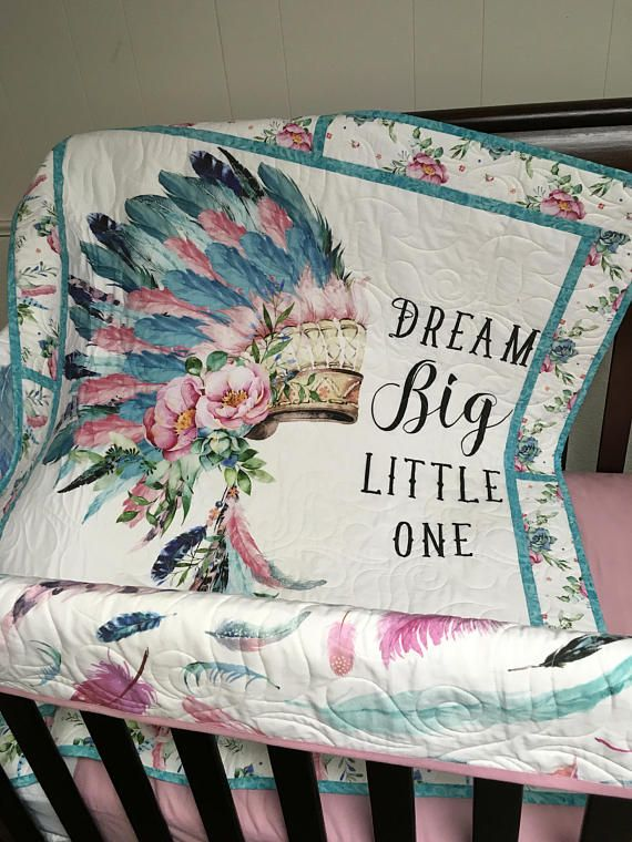 dream big little one tribal headdress baby girl nursery, Aqua, pink teal baby nursery bedding quilt, baby blanket bohemian boho