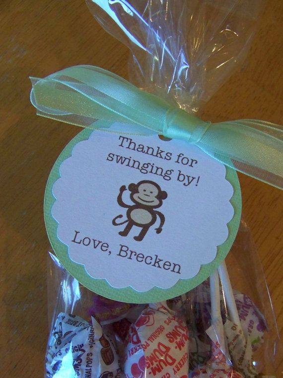 12 Monkey Shower Party Favor Bag Tags by Lissalaneous on Etsy, $9.00