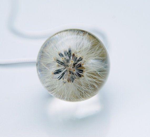 Dandelion Necklace Whole Dandelion Seeds Make a Wish Eco Resin Globe Dandelion Clock Ball Specimen Tiny Small Blow Ball