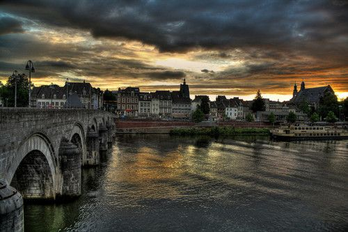 maastricht, the old bridge and view of the city center