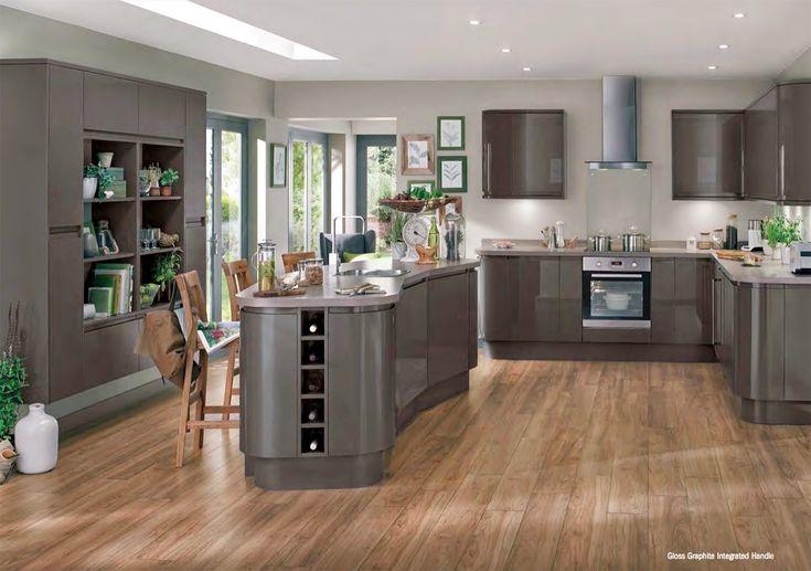 Grey Kitchens Howdens Gloss Graphite Kent Home