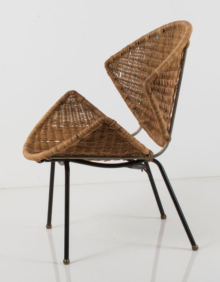Frank Watkins; Enameled Metal and Wicker Chair, 1956.