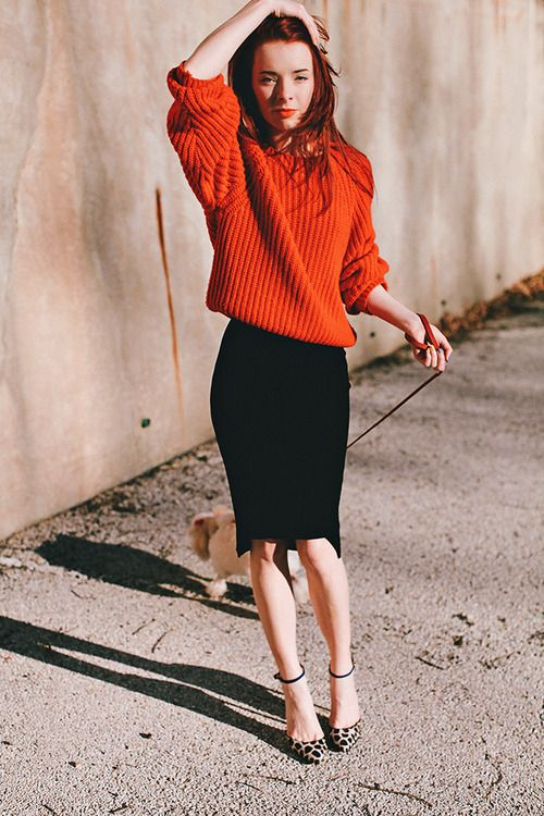 what-do-i-wear: HM skirt (similarhereandhere),red sweater,(image:seaofshoes)