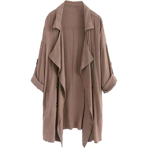 Choies Coffee Lapel Waterfall Front Roll-up Sleeve Trench Coat ($21) ❤ liked on Polyvore featuring outerwear, coats, jackets, cardigans, tops, brown, lapel coat, trench coat, waterfall coat and brown trench coat
