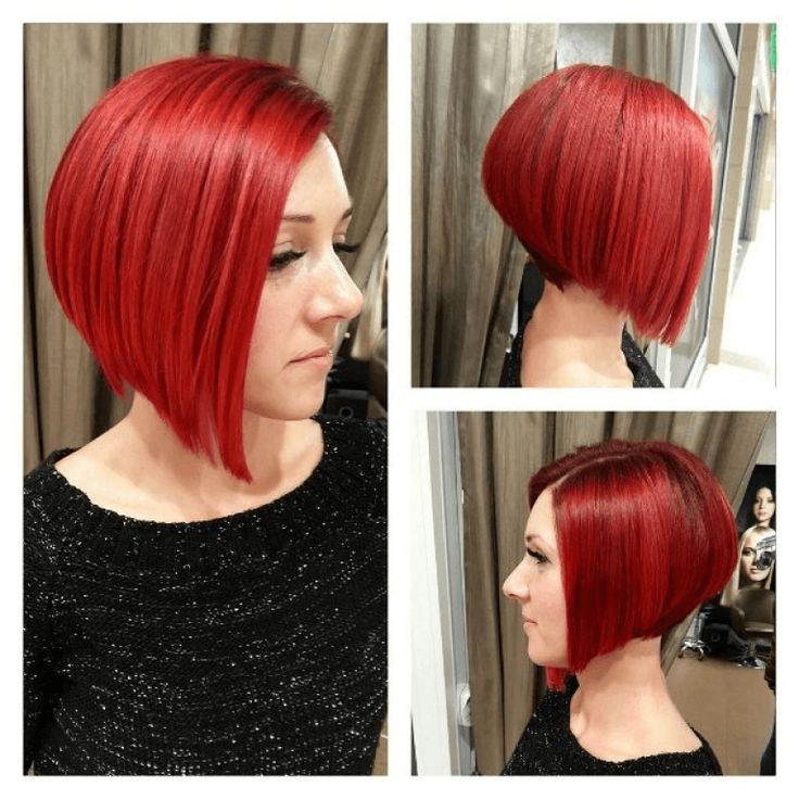 Glatte bob frisur rot mittellange haare von der linken und rechten Seite sichtba…
