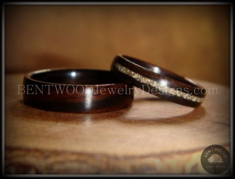 Bentwood Ebony Wood Ring Set with Glass Inlay - Bentwood Wood Rings - Custom handcrafted wooden rings both durable and unique