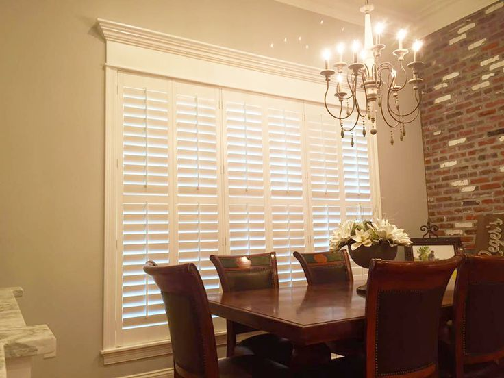 This Dining Room Windows Are Beautifully Finished Off With Our Plantation Shutters The Brick Accent