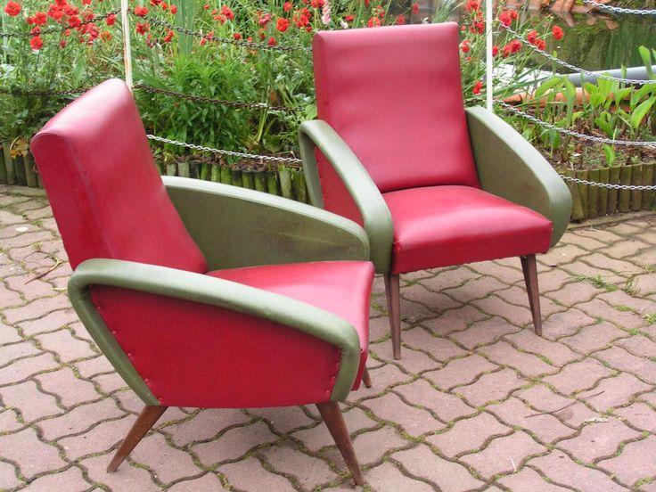 2 fauteuil rouge et vert ann es 60 brocante ambulante for Brocante dans 60