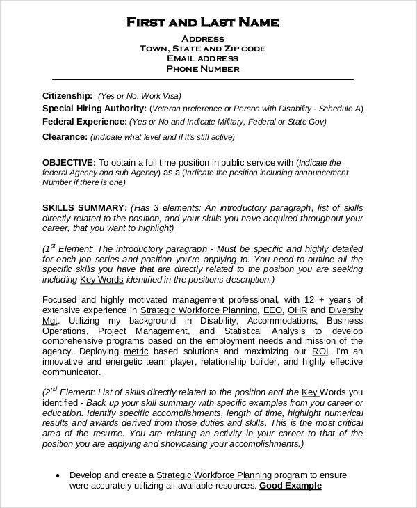Federal Resume Template 8 Free Word Excel Pdf Format Job Resume Template Federal Resume Resume Template