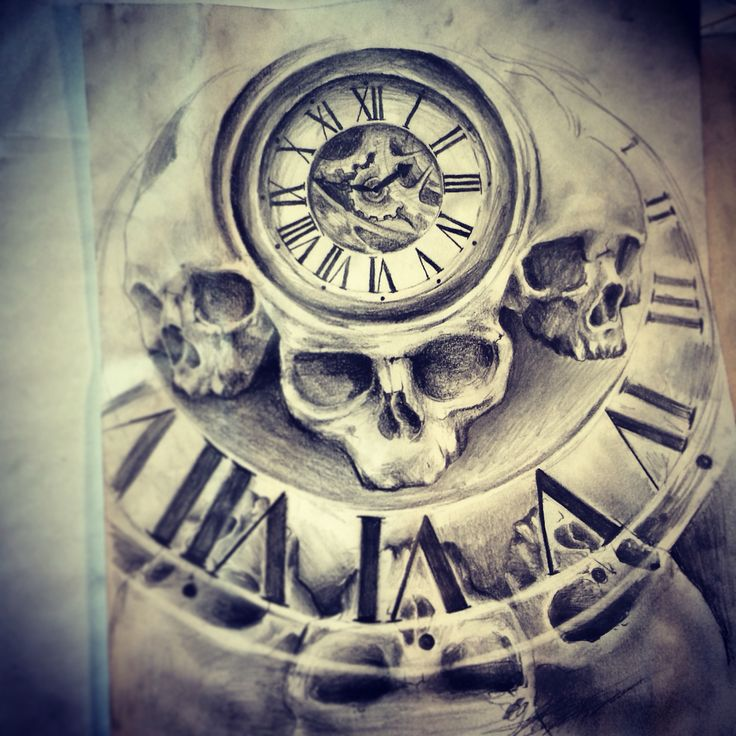 skull clock tattoodesing tattoo drawing pinterest clocks tattoo and tatoo. Black Bedroom Furniture Sets. Home Design Ideas