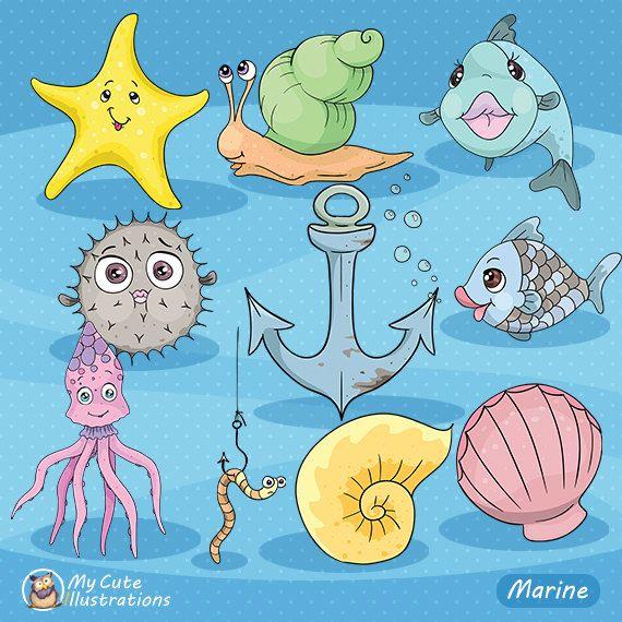 Under the Sea Clipart, Sea animal clipart, Marine creatures, digital clip art, nautical graphics