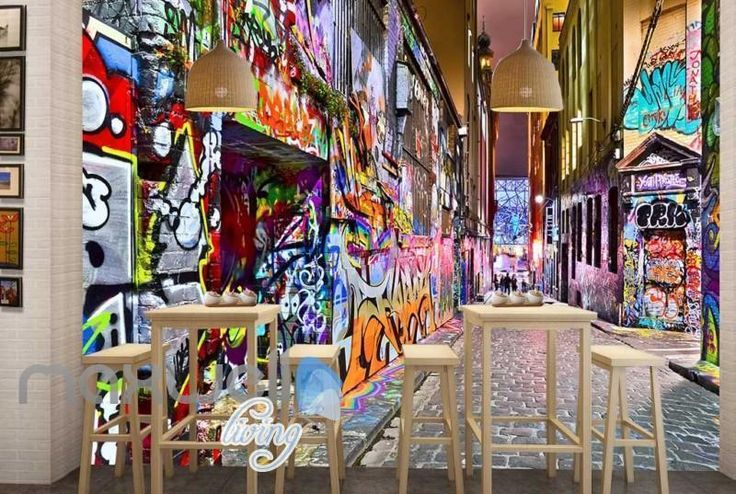 3D Graffiti Street Lane Art Gallery Wall Murals Wallpaper Decals Prints Decor   eBay