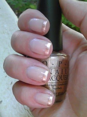 Gold-Tip Manicure: 2 coats of Essie Mademoiselle plus 1 coat of Essie Tennis Corset as base. The tips are OPI Opening Night Champagne