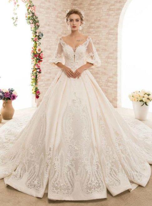 954de230729 Ball Gown Open Back Satin Pregnant Women Wedding Dress