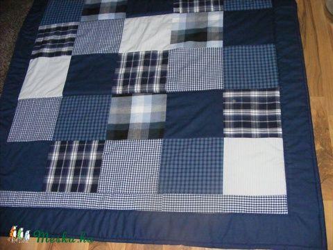 Kék patchwork takaró apró kockákból fiúknak, Otthon, lakberendezés, Lakástextil…