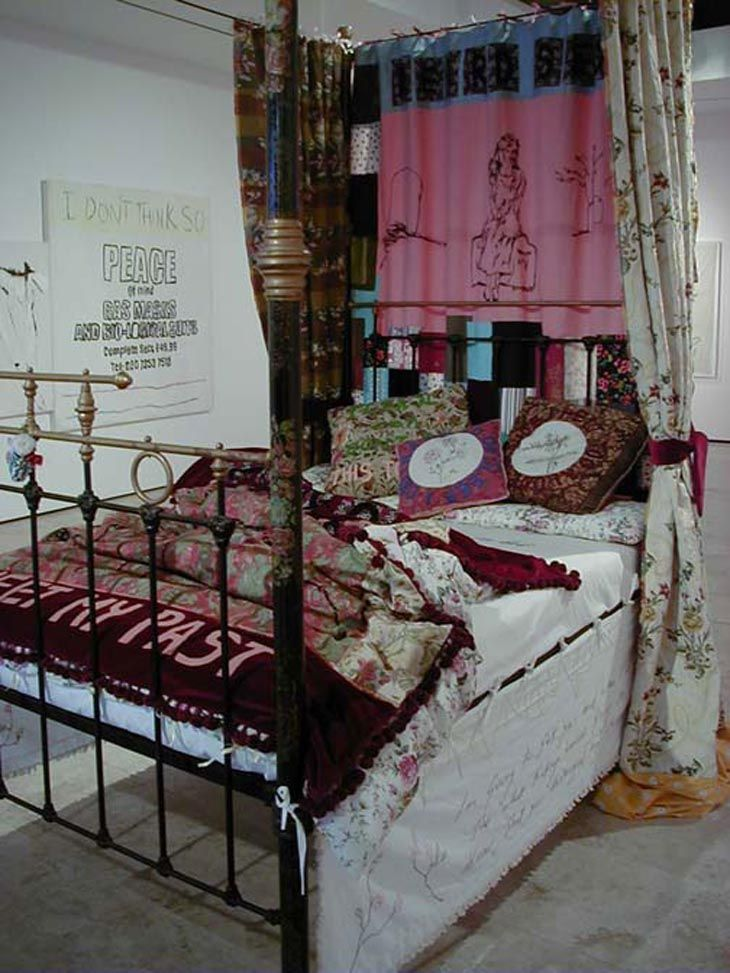 Tracey Emin    To Meet My Past    2002  Mixed media installation comprised of a four poster bed, mattress and appliquéd linens and curtains  Dimensions variable: