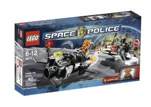 LEGO Space Police Freeze Ray Frenzy (5970) by LEGO. $18.95. Police Ray Bike measures 3.5 inches (8.9cm) long. Space police vehicle has flick fire weapons. Kranxx and Space Police Officer minifigures included. Also includes traffic light and stop sign accessories. Hotrod Hover Cycle measures 6 inches (15.2cm) long, including fire trail. Contains 80 pieces. From the Manufacturer                Space Police Command to all available units.  Space Biker leader Kranxx is on the loos...