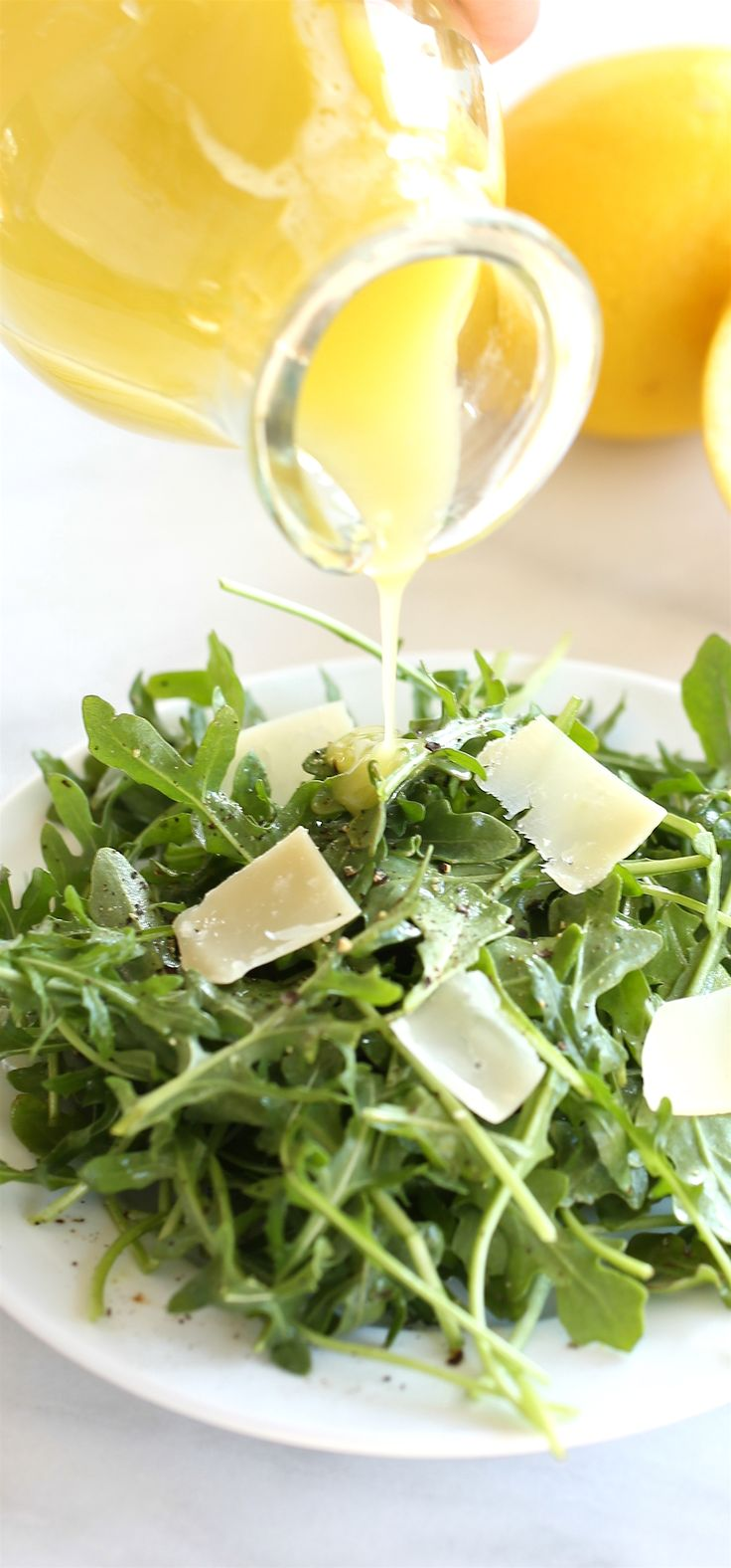 Light and refreshing lemon vinaigrette recipe made in just 30 seconds! Perfect for a summer arugula salad.